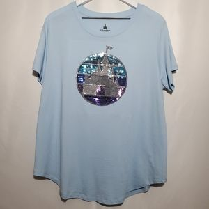 Disney Parks Sequined Fantasyland Castle Tee